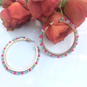 Gold, Mint Green and Coral Bead Hoop Earrings
